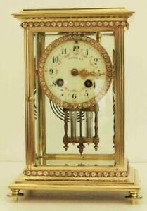 Tiffany Co French 8 Day Four Glass Crystal Regulator Clock Numbered 17303