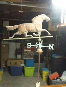 Vintage Farm Weathervane Trotting Horse Copper Rare Unique Rustic Barn Top