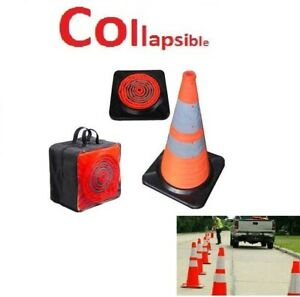 Collapsible Traffic Cone Led Lighted Safety Heavy duty W Carry Case