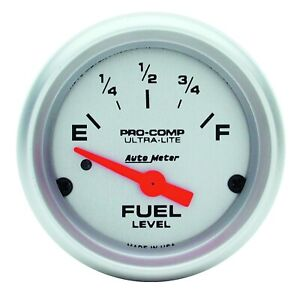 Fuel Level Gauge Ultra lite 0 90 Ohm Electric Analog Short Sweep 2 1 16 d Silver