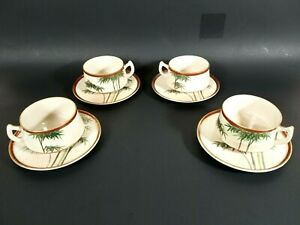 Vintage Tea Cup Saucer Set Of 4 Ceramic Gold Trim With Bamboo Tropical Theme