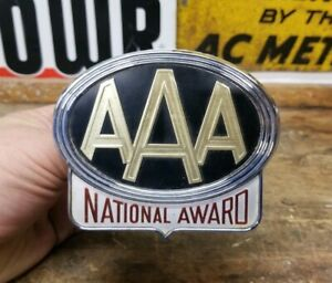Vintage Aaa National Award License Plate Topper Accessory Trunk Bumper Badge