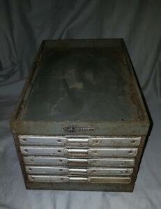 Vintage Victor Made In U s a Brand 5 Drawer Metal Cabinet Factory Industrial
