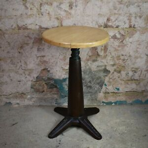 Antique Vintage Bellow Machinists Stool Swivel Industrial Adjustable Seat