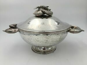 Franco Lapini Silver Plate Sturgeon Decorated Covered Centerpiece Tureen Large