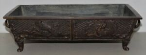 19th Century Solid Bronze Chinese Planter With Dragon Motif