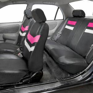 Pu Leather Seat Covers Universal Full Set For Suv Car Van Auto Pink Black