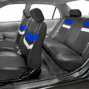Blue Black Pu Leather Seat Covers Universal Fit Full Set For Auto Car Suv