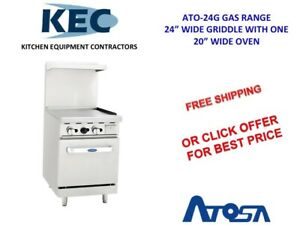 Atosa 24 Gas Range 24 Wide Griddle W 1 20 Oven Ato24g