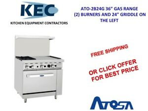 Atosa 36 Gas Range 2 Burners 24 Griddle Right 26 Oven