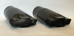 Flat Black Over Stainless 3 Chevy Bowtie Exhaust Tips Pair