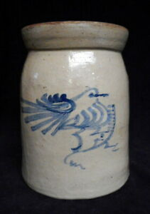 Late 19th C Antique Stoneware Crock Blue Decorated With Bird