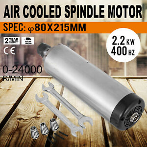 2 2kw Er20 Air Cooled Spindle Motor Grease Lubrication High Speed 24000rpm