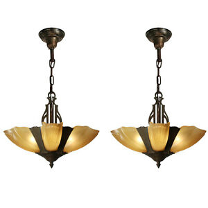 Antique Art Deco Slip Shade Chandeliers 2 Available Nc3428