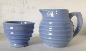 Vintage Antique Heavy Blue Ringed Beehive Pottery Stoneware Creamer