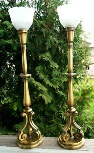 1940 50s Rembrandt Brass Electric Table Lamp Pair Mid Modern Hollywood Regency
