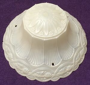 Antique Art Deco Frosted Glass Ceiling Light Lamp Shade 3 Hole 10 Wide Vintage