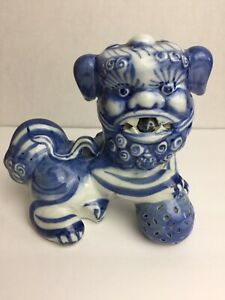 Chinese Antique Blue And White Porcelain Foo Dog Statue