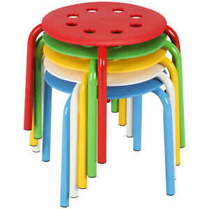 5pcs Plastic Stack Stools Chairs For Kids Student Classroom Stackable 12 Height
