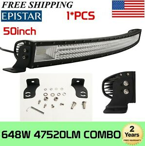 50 inch 648w Tri row Led Light Bar Combo Offraod Driving 4wd Truck Boat Gmc 288w