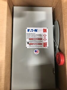 Eaton Fused Safety Switch 30 Amp 250 Vdc 480 600 Vac 3 Pole Dh361fgk