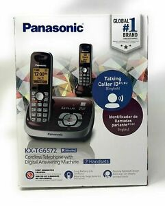 Panasonic Kx tg6572r Digital Cordless Phone System Wine Red 2 Handsets