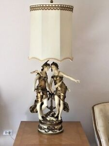 August Moreau French Maidens Figural Lamp Signed