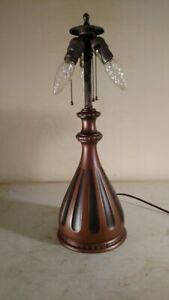 Antique Pairpoint Signed Lamp Base For Leaded Slag Glass Shade Handel Era