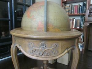 Replogle 16 Library World Globe Rare 1940 S Brandt Oak Stand Antique Vintage
