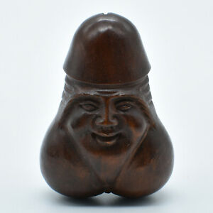 Hand Carved Japanese Boxwood Netsuke Face On Male Female Sex Organ Carving