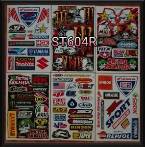 Set 6 Sheet Of Atv Car Helmet Moto Gp Scooter Bike Racing Truck Rc Stickers C4