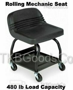 Heavy Duty Shop Seat 480 Lb Load Capacity High Back Padded Rolling Chair Garage