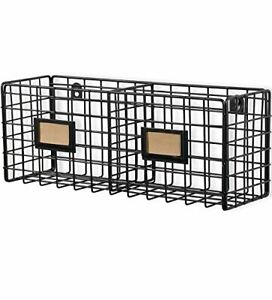 Wall35 Metal Mesh Wire Basket Shelf Desktop Organizer Rack Wall Mounted