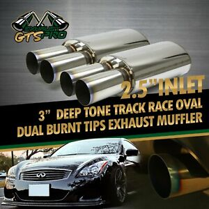 For Ford 2x Usa Na Tracker Style Sport Oval Exhaust Muffler Dual Burnt Tips