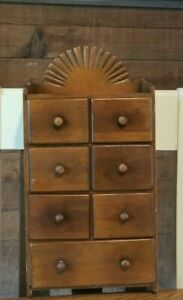 Vintage Wood Apothecary Spice Wall Cabinet 7 Drawer Box Sun Ray Burst Design