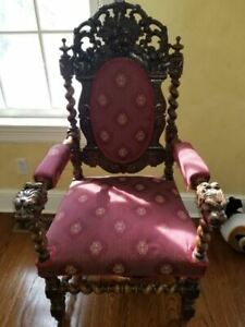 Antique Gothic Heavily Carved Throne Chair With Lionhead Terminals