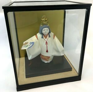 Vintage Japan 11 Ceramic Toru Zo Noh Theater Hakata Doll W Glass Display Case