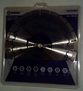 Kobalt 14 Wet Dry Segmented Concrete Brick Block Pavers Diamond Saw Blade s2