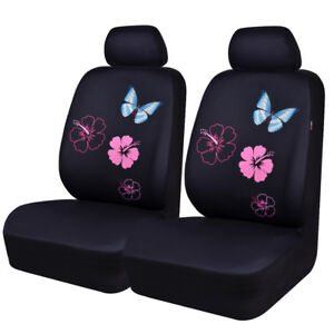 Two Front Seat Pink Color Butterfly Mesh Fabric Univesal Car Seat Cover For Girl