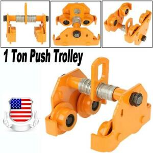 1 Ton Push Beam Trolley 2204 Lbs Hoist Winch Crane Lift Fits I beam Adjustable