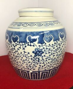 Antique Chinese Blue And White Porcelain Ginger Jar Vase 8 5 Tall