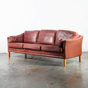 Mid Century Danish Modern Sofa Couch Leather Ox Blood Mogens Hansen 3 Seater Mcm