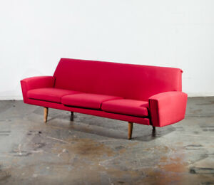Mid Century Danish Modern Sofa Couch Hans Wegner Oak Red Getema 3 Seater Ge Wool