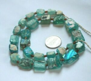 Ancient Old Rare Roman Glass Beads Square Mixed Size Color Random Strand