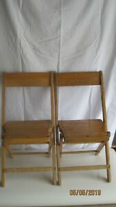 2 Palmer Snyder Vintage Wooden Folding Chairs