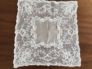 Antique Cream Lace Signed Belgian Ww1 1914 1918 Wedding Handkerchief 11x10 5