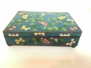 Antique Chinese Late Qing Early Republic Blue Cloisonne Box W Floral Decoration