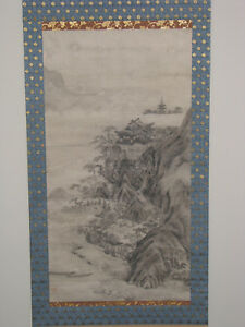 Japanese Hand Painted Hanging Scroll By Kano Eitoku 1543 1590
