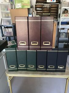 9 Faux Leather Magazine Holders File Folder Organizer Legal Storage Book Bin Set