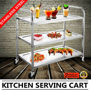 Kitchen Stainless Steel Serving Cart Workstation Utility Dolly 3 Shelf Home Use